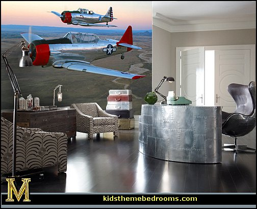airplane themed bedroom ideas airplane themed home office  Aviation themed bedroom ideas - airplane bed - airplane murals - airplane room decor - Airplane rooms - airplane theme beds - airplane decor