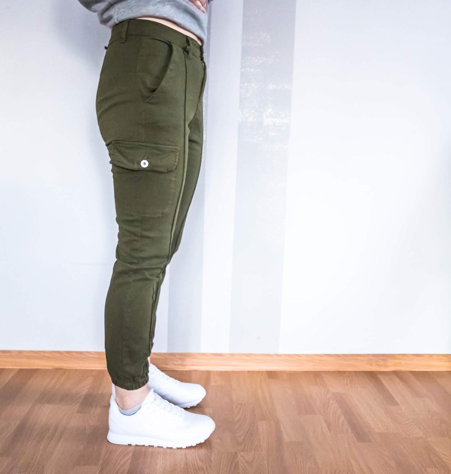 Khaki Green Cargo Slim Fit Trouse