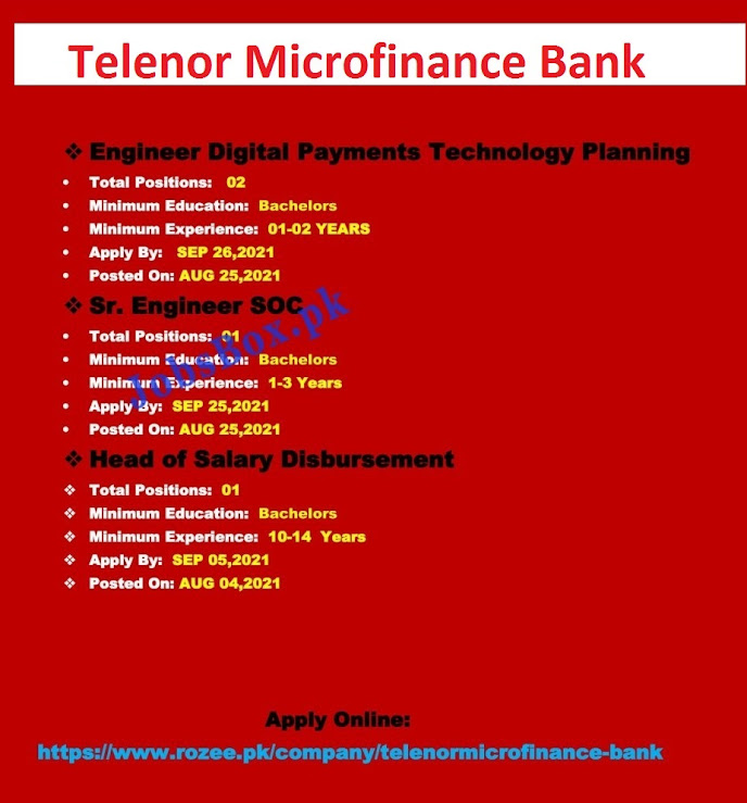 Telenor Microfinance Bank Latest  Jobs  in Pakistan - Online Apply