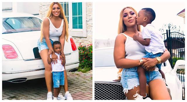 Stop Bleaching your son- Nigerians slams Linda Ikeji over her son's skin (photos)