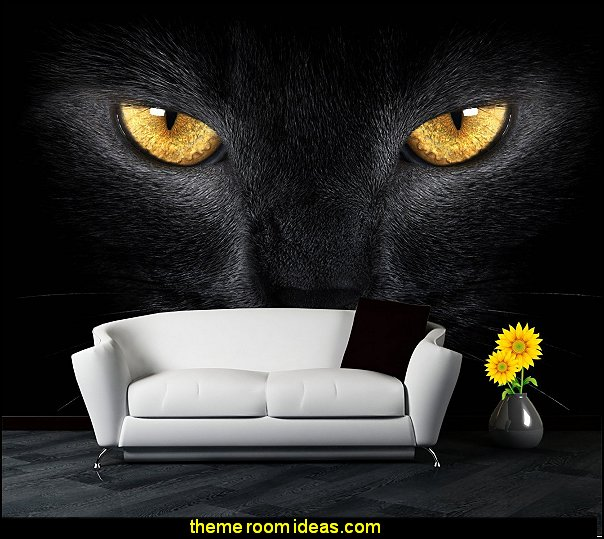 Animals Wallpaper Black Cat Eyes Decoration Wall Murals Home Art Stickers Decorations   wild animal print bedroom decor  - leopard print decorating ideas- giraffe print - zebra print - cheetah bedroom decor - wild animal print decorating  - leopard print decor - leopard print walls -  tiger wall decal