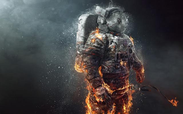 Astronaut on Fire Wallpaper