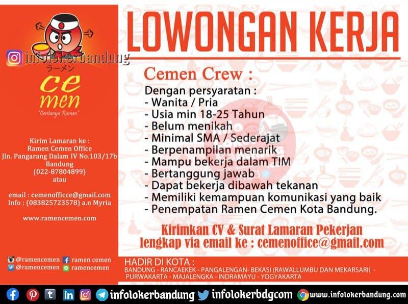 Lowongan Kerja Ramen Cemen Bandung Februari 2021