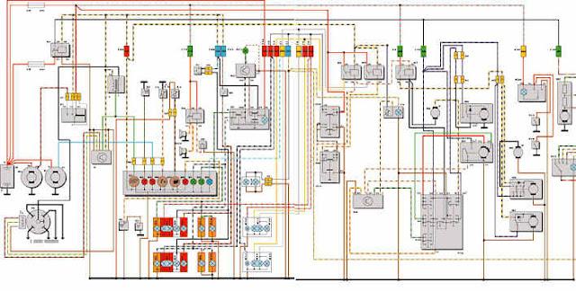"""Принципиальная схема электрооборудования автомобиля """"ford sierra 1,6"""" выпуска 1987-1989 гг."""