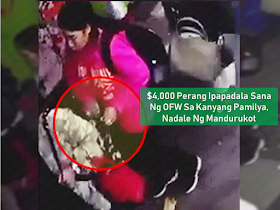 """Pickpockets are everywhere so this incident has to serve as a warning to all overseas Filipino workers (OFW) where ever they are in the world. A money with a sum amounting to HK$4,000 which is supposed to be sent as a remittance back home by an OFW in Hong Kong was taken by a pickpocket without her knowledge. Watch the video  and find out who took it.     Ads  Sponsored Links       In Hong Kong, a 45-year-old  overseas Filipino worker (OFW) loses over HK$4,000 to a pickpocket, the money she intended to send for her family back home.   Mary Jane Santiago Olivar a household worker, shared that she passed through the Li Yuen Street East in Central, known by OFWs as """"Alley-Alley 2"""" at 7:44 pm on November 4 to pick up some items at a grocery store in the alley. Without her knowledge, a female thief slips into her bag and took her money.  She was on her way back to her employer's home when the incident happened. She said that the thief took more than $ HK4,000, the money she was supposed to remit the money to her family in the Philippines.  Her wallet was later found by another worker on a street in Central containing her Hong Kong ID and ATM card by a person who knew Olivar's sister.    The OFW immediately went to the authorities and reported about the incident. She also rushed back to the grocery store and requested to review the CCTV footage when the incident has taken place.  Filed under the category of Pickpockets, overseas Filipino workers, remittance, Hong Kong, video"""