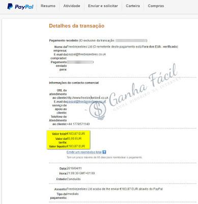 paypal pagamento freebiejeebies payout payment prize prémio