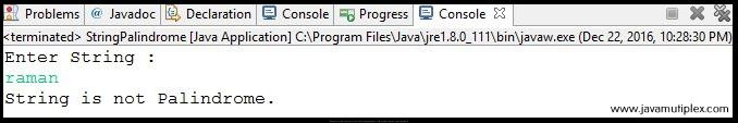 Output of Java program that checks whether given string is Palindrome or not - Case1