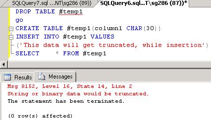 data truncated for column