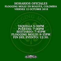 Horarios Concierto de FLOGGIN MOLLY en Bogotá