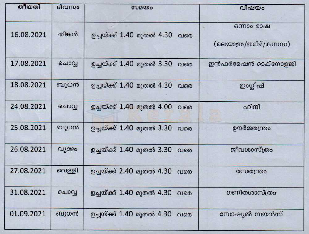 10th equivalent timetable 2021