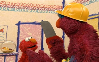 Telly has a saw and wears a hard hat. Elmo is surprised. Sesame Street Elmo's World Building Things Elmo's Question