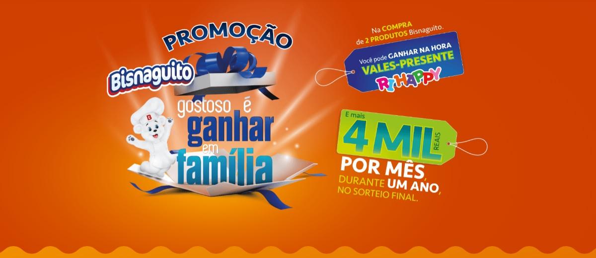 Promoção Gostoso é Ganhar em Família Bisnaguito 2020 - Vales-Compras Ri-Happy e 4 Mil Por Mês