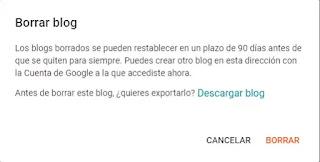 Borrar un blog de Blogger