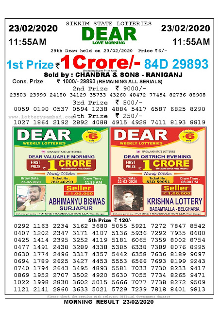 Lottery Sambad 23.02.2020 Sikkim Lottery Result 11.55 AM