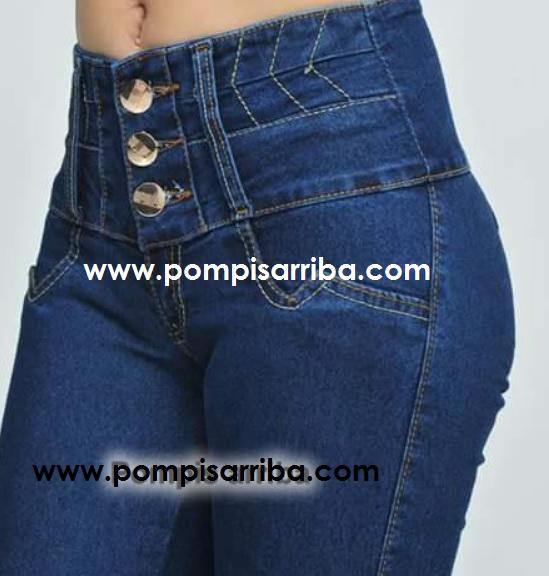 Pantalones Corte Colombiano en Color Mezclilla