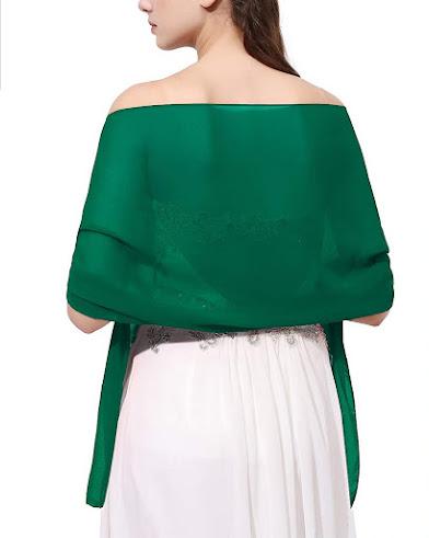 Deep Green Chiffon Scarves