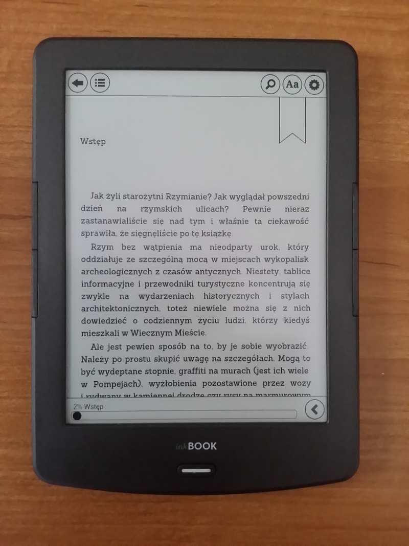 Legimi w InkBOOK Classic 2 - dotknięcie środkowej częsci ekranu wywołuje menu e-booka