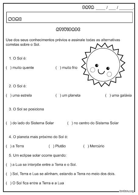 Atividade Ciências O Sol