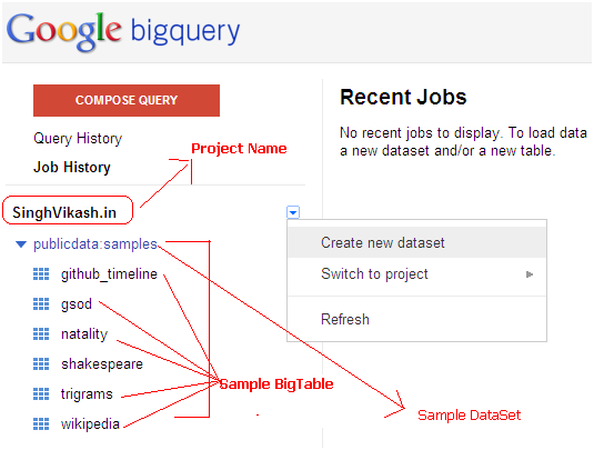 Singh Vikash blog: How to create datasets and BigTables into Google