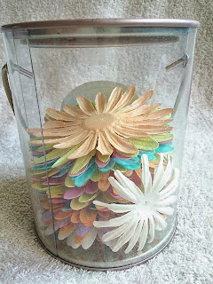 Colourful paper flowers for scrapbook.