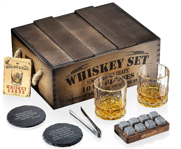 whiskey glass and stone set
