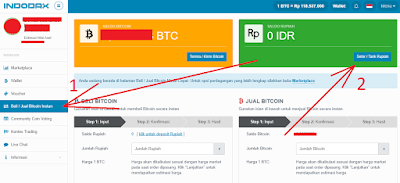 Login di akun Indodax dan klik beli jual Bitcoin instan dan klik setor rupiah