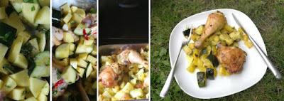 Zubereitung Gebackene Kartoffel- und Zucchiniwürfel mit Hähnchen