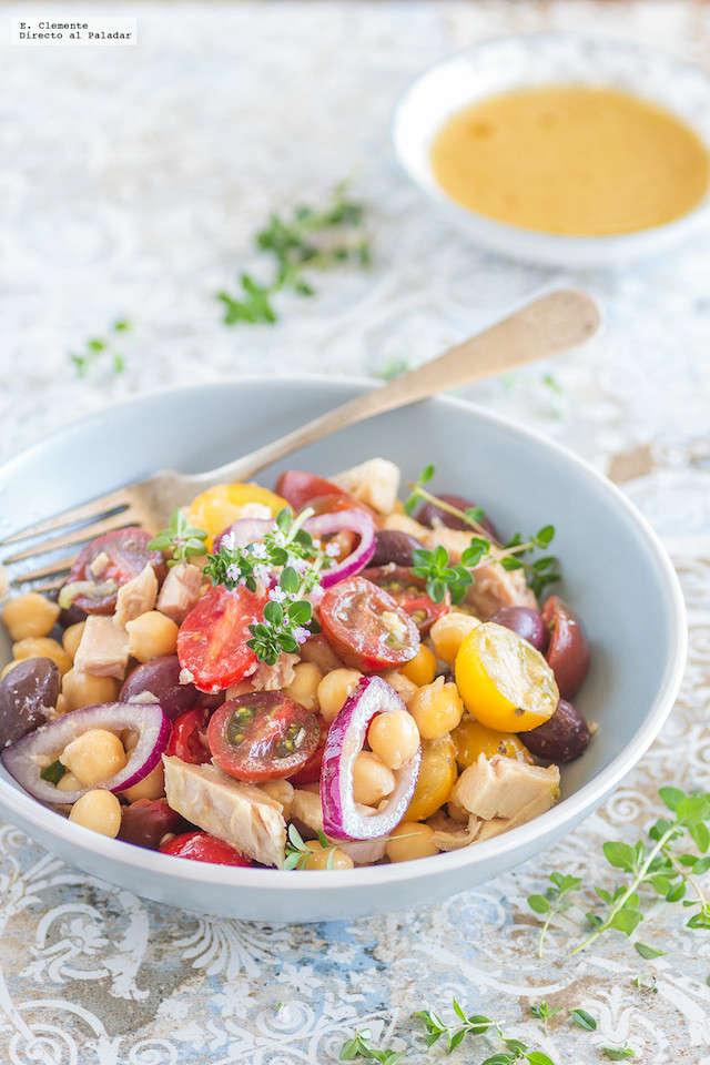 ensalada de ventresca y legumbres