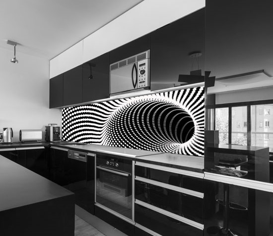 Fantastic 3D kitchen backsplash designs on glass panels