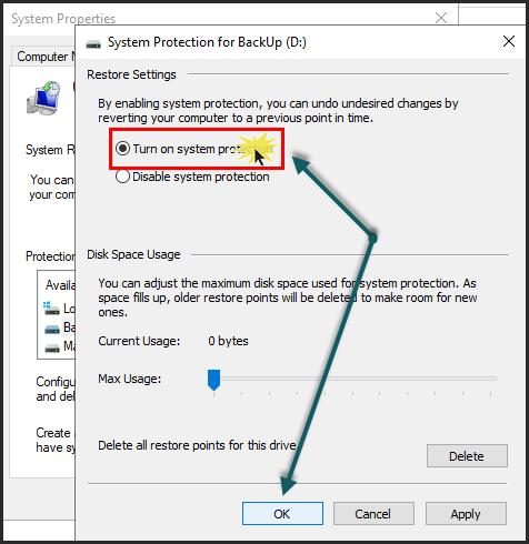 قم بإختيار تفعيل حماية النظام Turn on system protection ثم إضغط موافق OK.