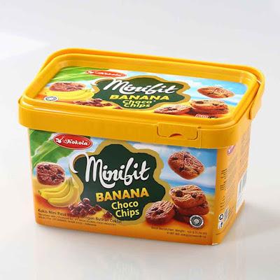 Sama seperti choco chips biskuit, pada minibit banana chocochips terdapat butiran-butiran cokelat pada tiap kepingan biskuit, namun dari segi rasa dan aroma biskuit memiliki citarasa pisang.