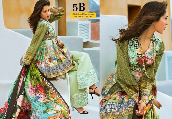 HONEY WAQAR LUXURY LAWN 2017 BY ZS TEXTILES