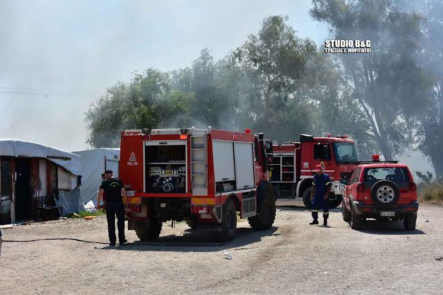 Πυρκαγιά στον καταυλισμό των ΡΟΜΑ στο Ναύπλιο