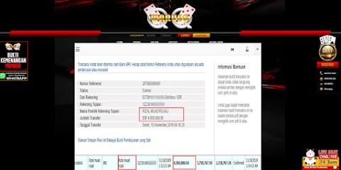 Selamat Kepada Member Setia WARUNGQQ Withdraw RP  4.500.000