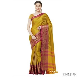 Latest Cotton Silk Solid with Border Work Regular Sarees