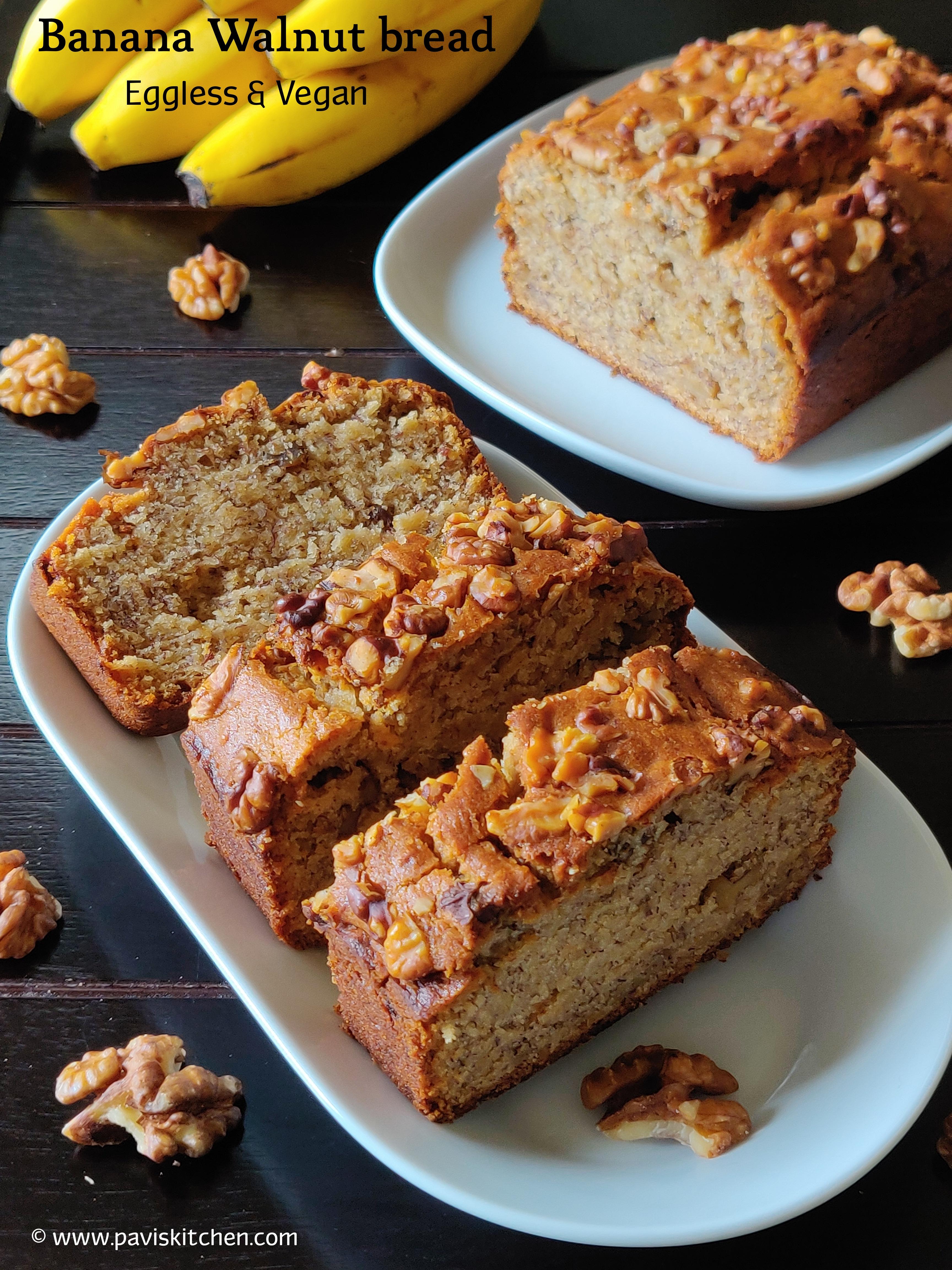 Eggless banana bread recipe | Eggless whole wheat banana bread recipe | Vegan