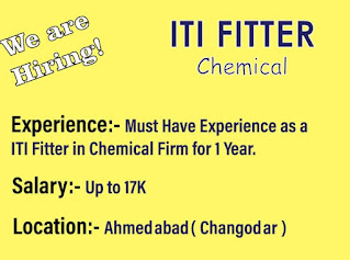 Urgent Jobs Opening for ITI Fitter Candidates For Chemical Company Changodar, Ahmedabad