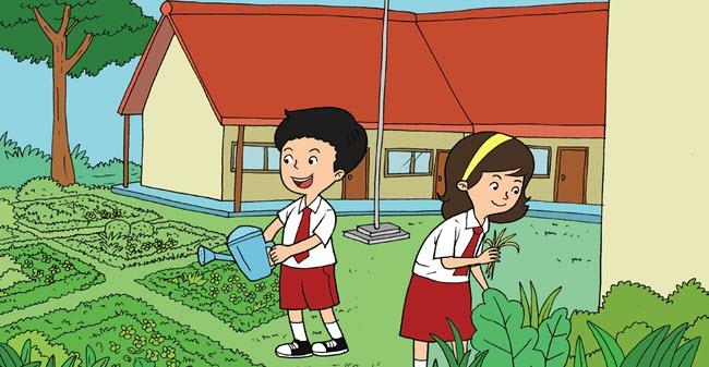 Gambar Kerja Bakti Di Lingkungan Sekolah Kartun Pembelajaran 2 Subtema 2 Kewajiban Dan Hakku Di Sekolah Mikirbae Com