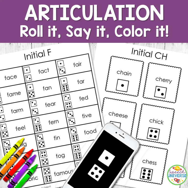 Articulation Roll it, Say it, Color it