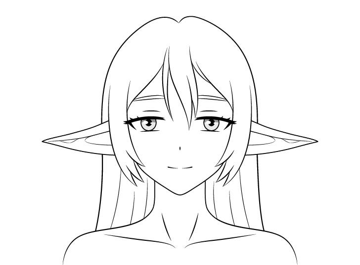 Gadis anime elf menurunkan telinga menggambar