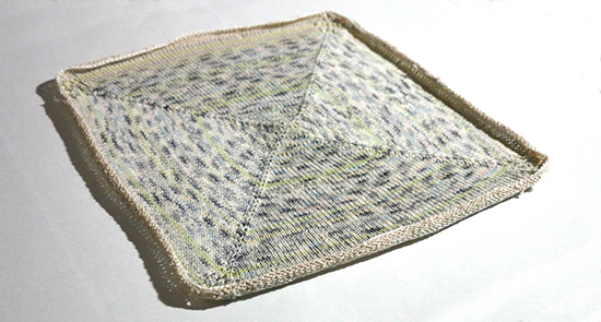 Hand Knit Cotton Basket Liner with Lace Leaf Detail in Corners and Curling Edges