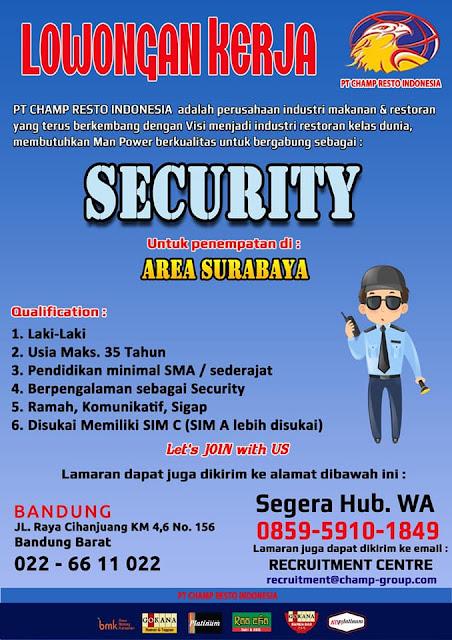 lowongan kerja SECURITY PT Champ Resto Indonesia