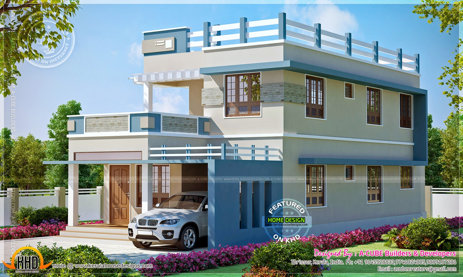 2260 square feet new home design kerala home design and for Outer look of house design