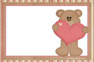 Para hacer Invitaciones, Tarjetas o Marcos para Imprimir Gratis de Osito Enamorado.