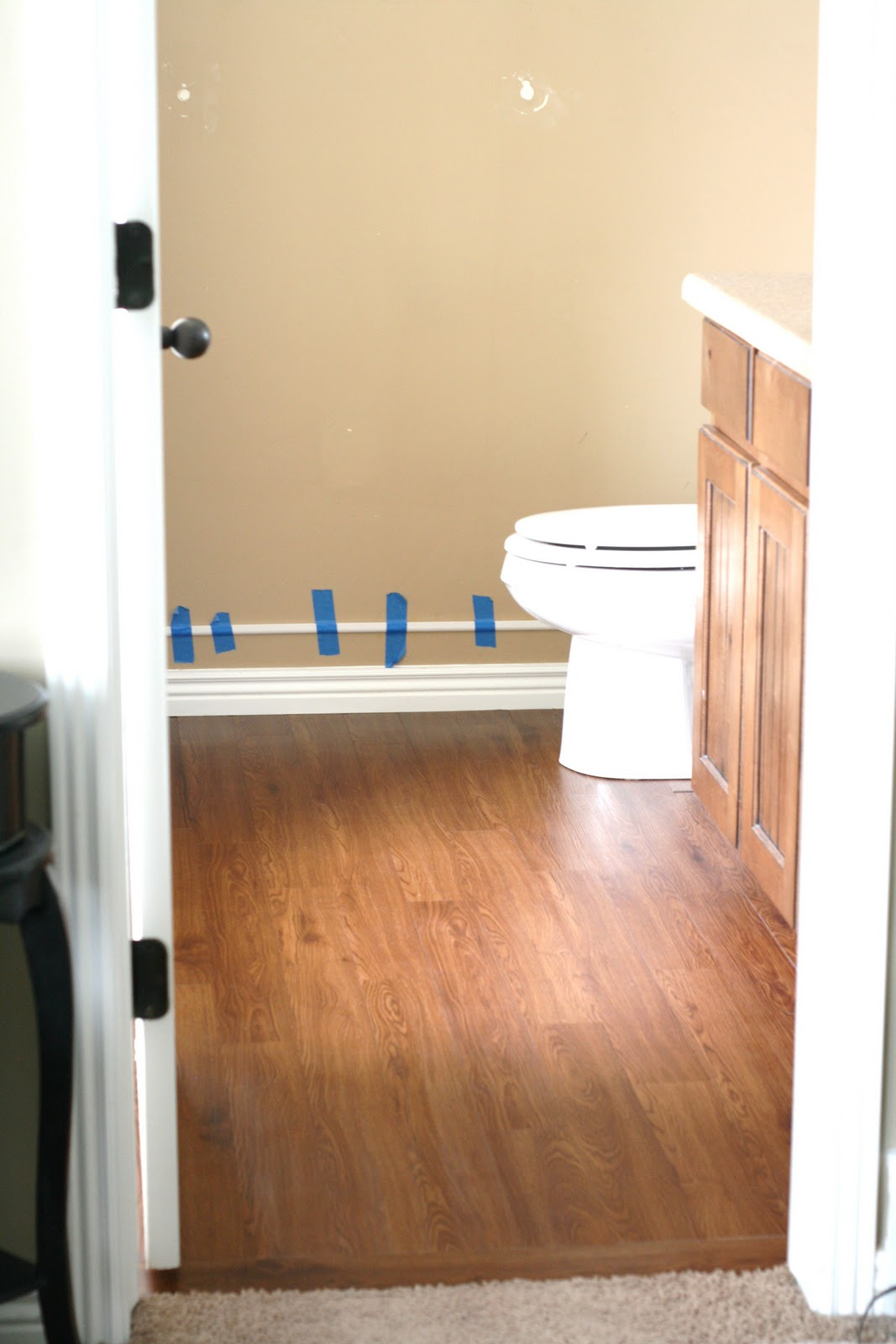 Master Bathroom Peel And Stick Wood Plank Flooring