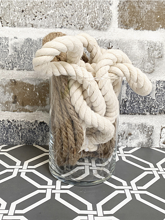 jar filled with rope