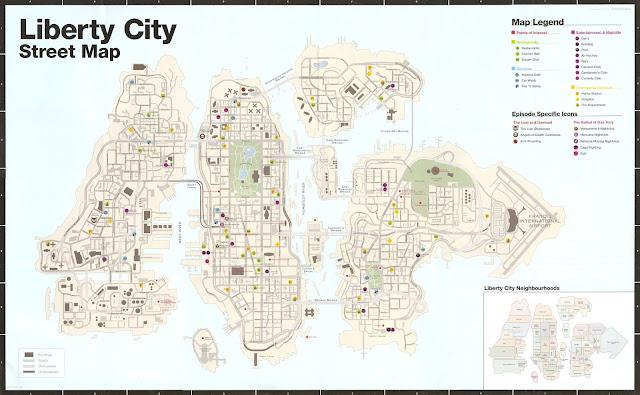 Grand Theft Auto IV (GTA 4) Liberty Şehri - Cadde Haritası