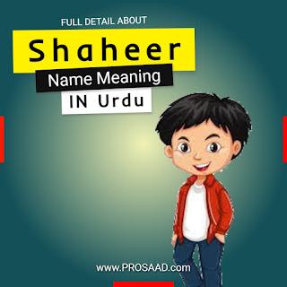 Shaheer Name Meaning in Urdu & Shaheer Name History
