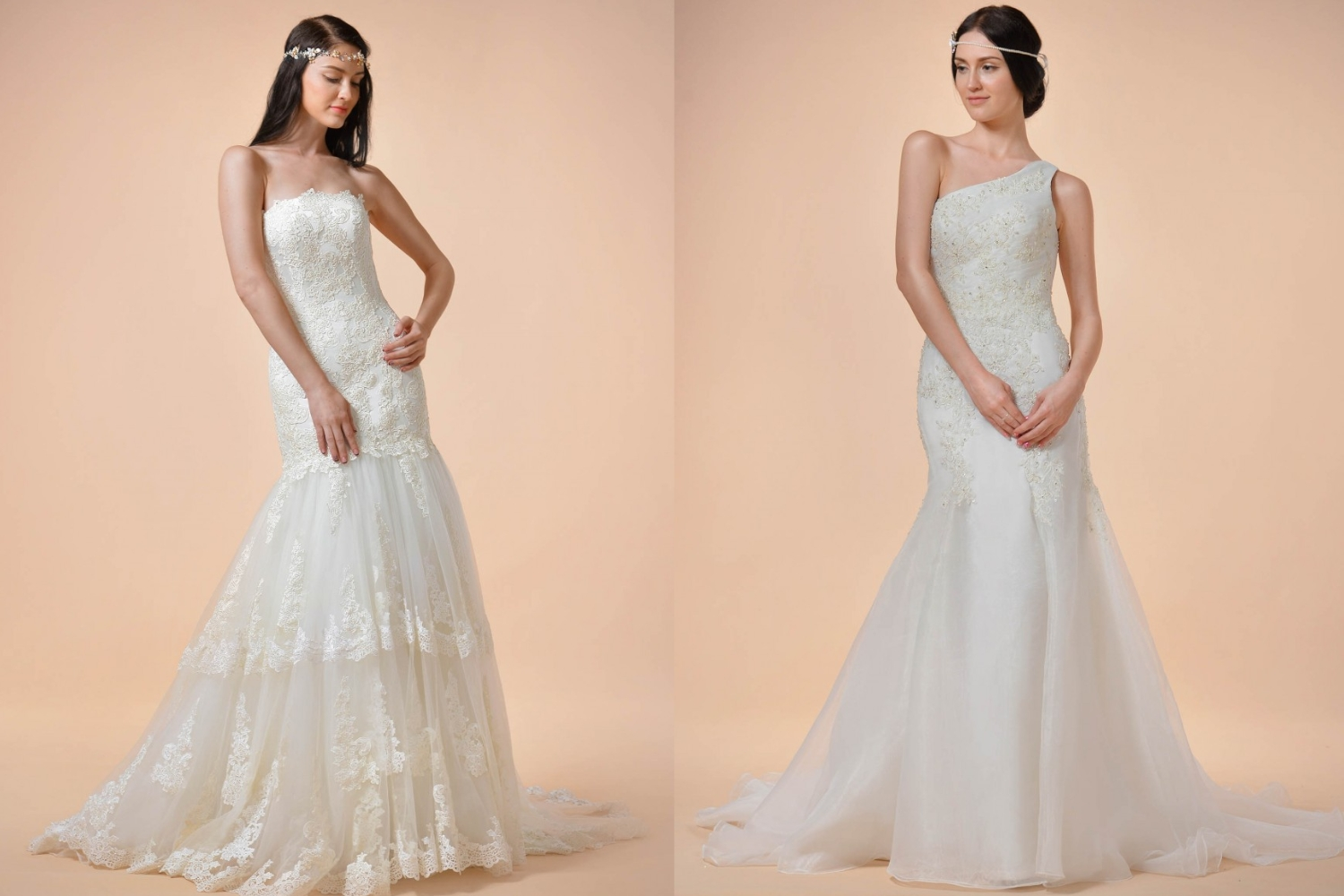 two lace wedding dresses