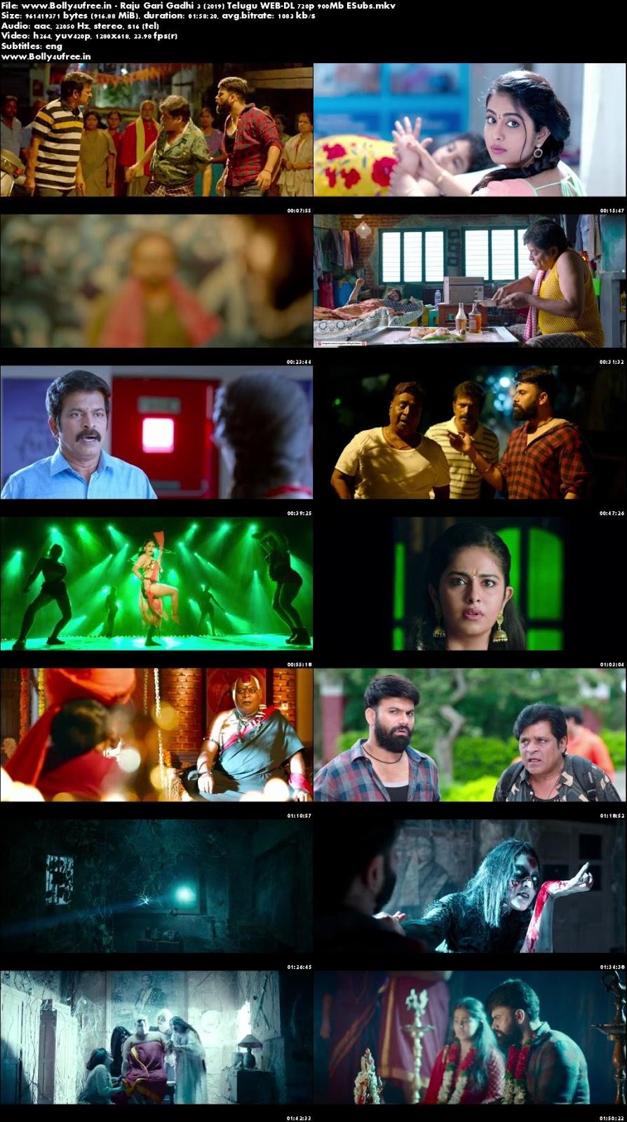 Raju Gari Gadhi 3 2019 Telugu WEB-DL 720p 900Mb ESubs